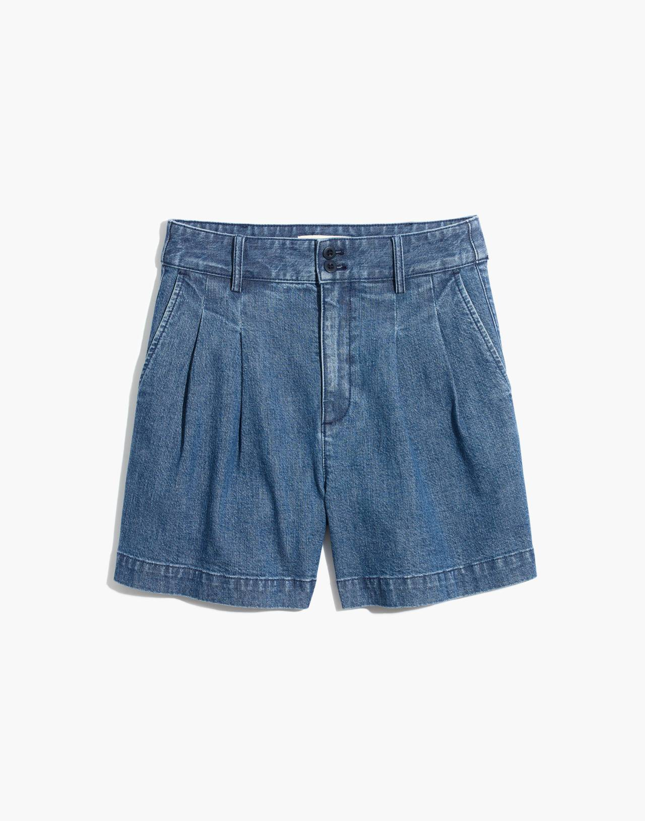 Denim Pleated Shorts in willowdale wash image 4