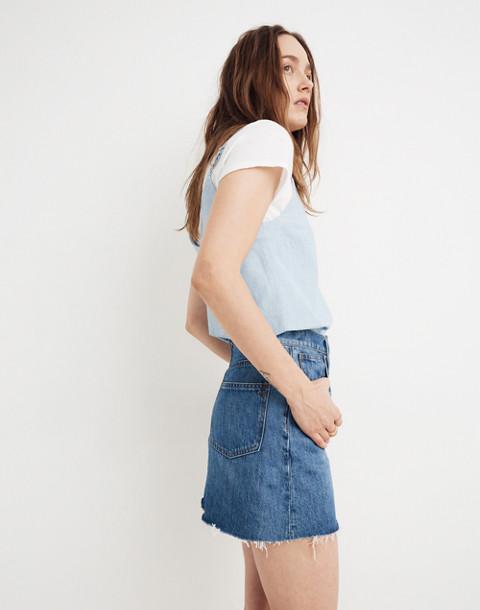 Rigid Denim A-Line Mini Skirt in Lakeline Wash: Eco Edition in lakeline wash image 2