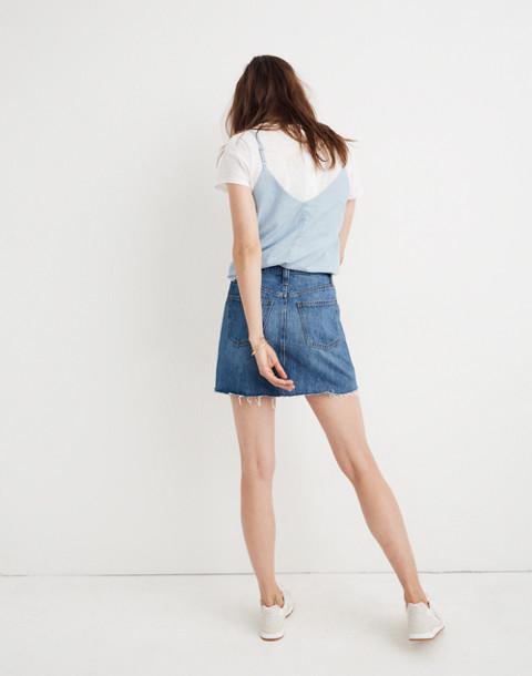 Rigid Denim A-Line Mini Skirt in Lakeline Wash: Eco Edition in lakeline wash image 3