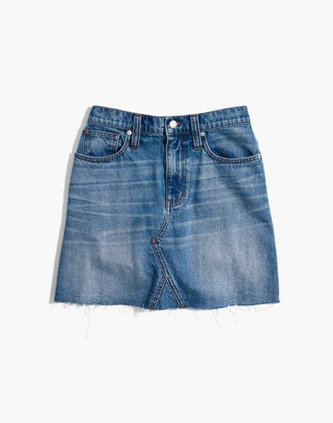 Rigid Denim A-Line Mini Skirt in Lakeline Wash: Eco Edition in lakeline wash image 4