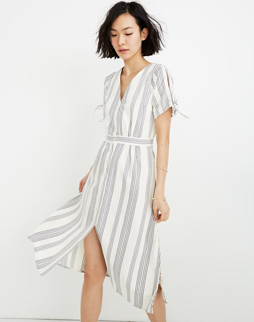 Tie Sleeve Dress In Indigo Stripe by Madewell