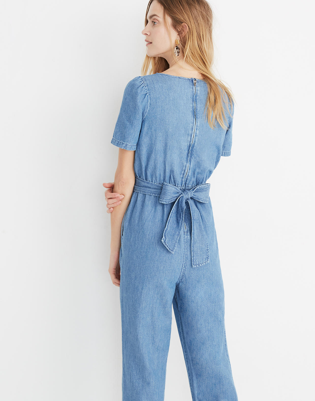 b85ce551670a Tall Denim Puff-Sleeve Tapered Jumpsuit in claridge wash image 3
