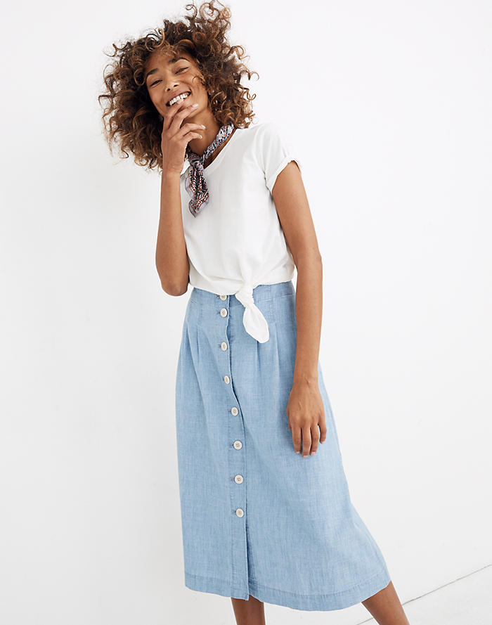 df61f2eaa6b Chambray Patio Button-Front Midi Skirt