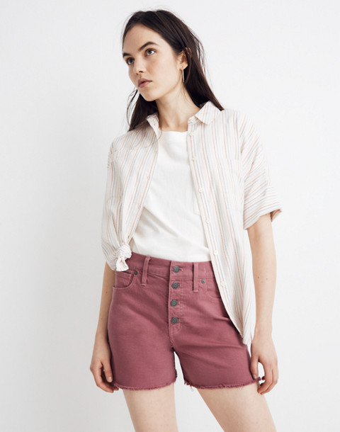 High Rise Denim Shorts: Garment Dyed Button Front Edition by Madewell