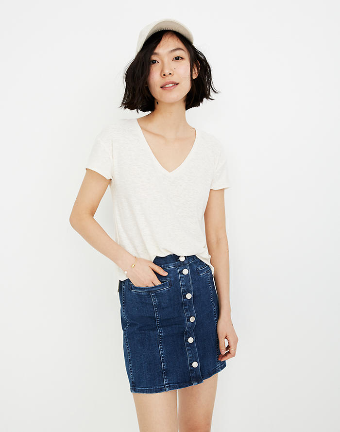 8ad3dbd89c40 Stretch Denim Straight Mini Skirt in Marsden Wash