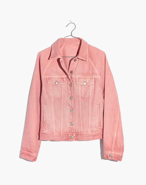 The Raglan Oversized Jean Jacket in Dusty Rose in dusty rose image 4