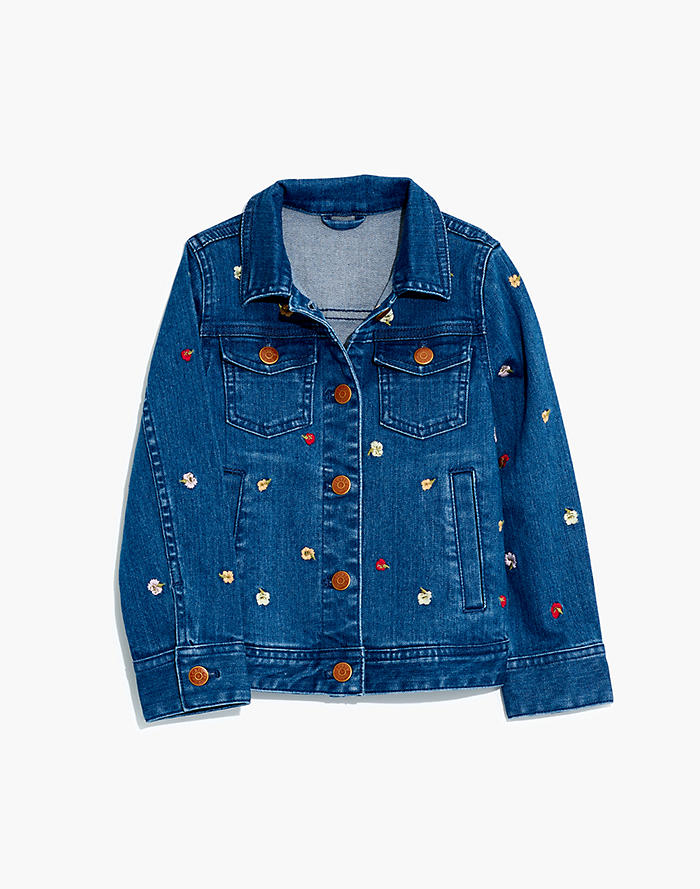 c74393d3c6e7 Madewell x crewcuts Kids' Floral Embroidered Jean Jacket