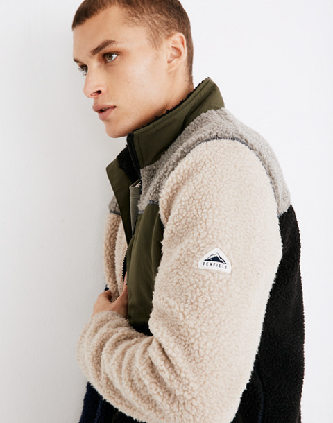 Penfield® Mattawa Sherpa Fleece Jacket in Colorblock in peacoat image 2