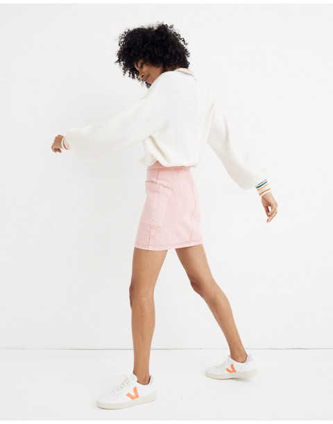 Rigid Denim High-Waist Straight Mini Skirt: Garment-Dyed Patch Pocket Edition in dusty rose image 2