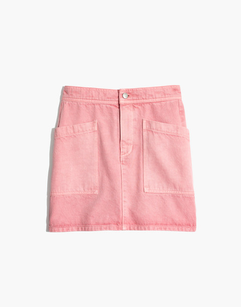 Rigid Denim High-Waist Straight Mini Skirt: Garment-Dyed Patch Pocket Edition in dusty rose image 4