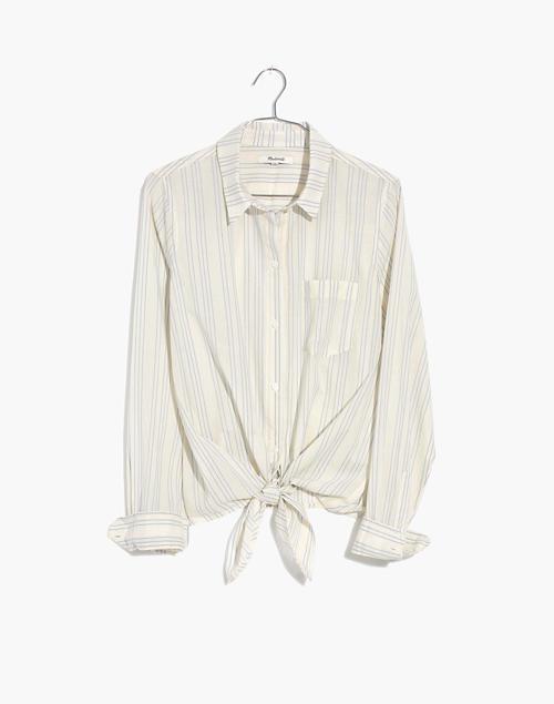 188f07134b Tie-Front Shirt in Stripe in pale parchment abbie stripe image 4