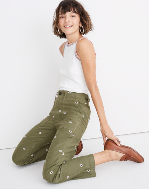 Griff Fatigue Pants: Daisy Embroidered Edition by Madewell