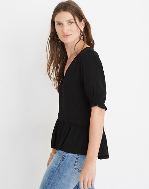 Petite Courtyard Ruffle-Hem Top in true black image 2
