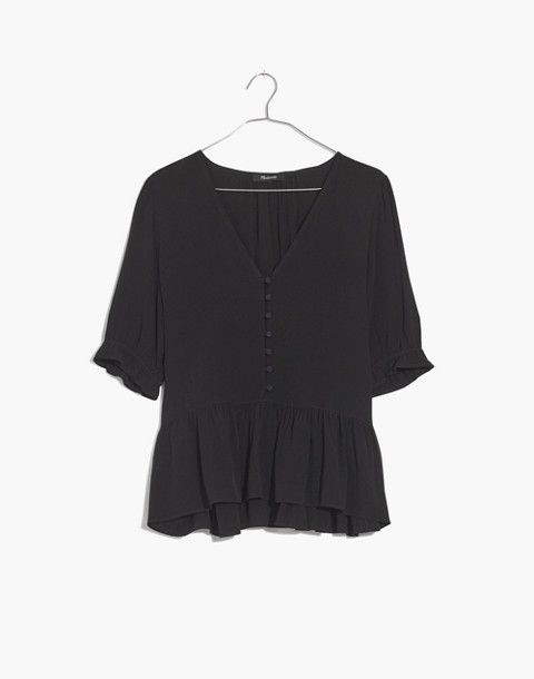 Petite Courtyard Ruffle-Hem Top in true black image 4