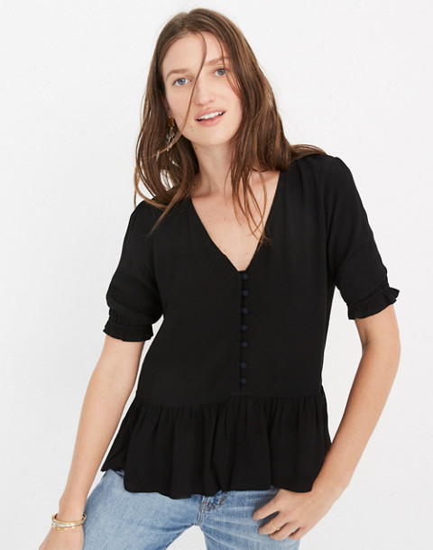 Petite Courtyard Ruffle-Hem Top in true black image 1