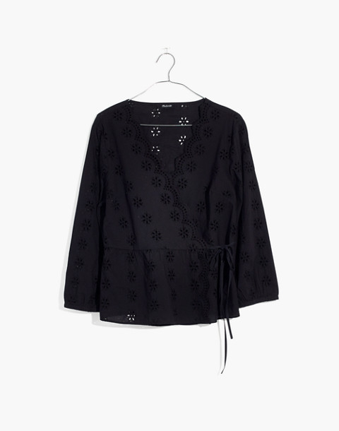 Petite Scalloped Eyelet Wrap Top in true black image 4