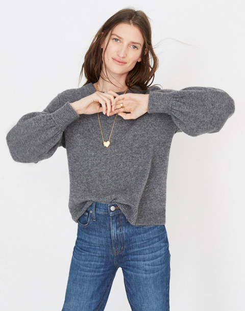 Gladwell Balloon-Sleeve Pullover Sweater in hthr flannel image 1