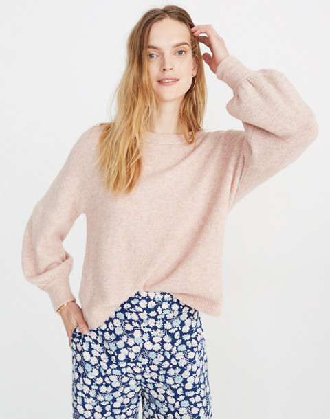 Gladwell Balloon-Sleeve Pullover Sweater in heather rose image 1