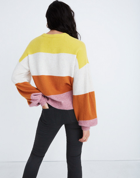 Striped Gladwell Balloon-Sleeve Pullover Sweater in heather mulberry image 3