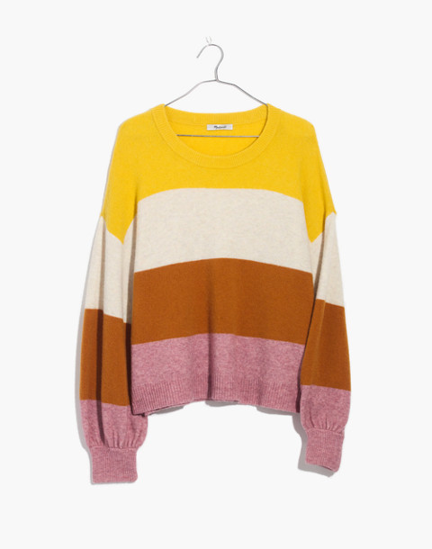 Striped Gladwell Balloon-Sleeve Pullover Sweater in heather mulberry image 4