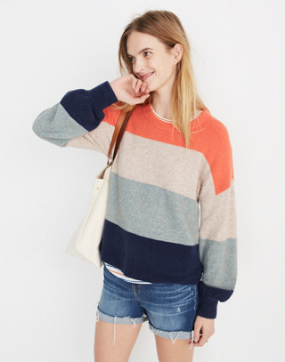 Striped Gladwell Balloon-Sleeve Pullover Sweater in deep navy image 2