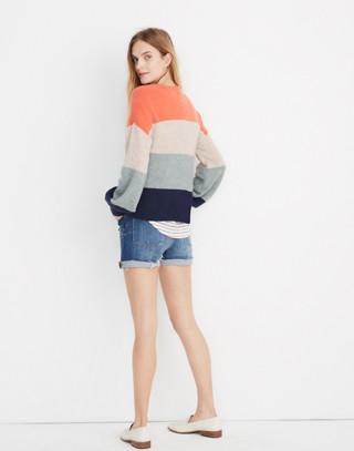 Striped Gladwell Balloon-Sleeve Pullover Sweater in deep navy image 3