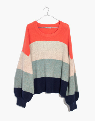 Striped Gladwell Balloon-Sleeve Pullover Sweater in deep navy image 4