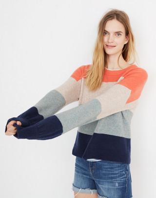 Striped Gladwell Balloon-Sleeve Pullover Sweater in deep navy image 1