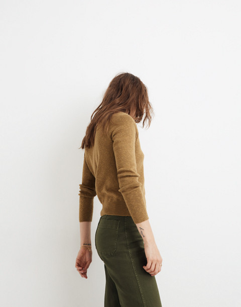 Wrap-Front Pullover Sweater in spiced olive image 2