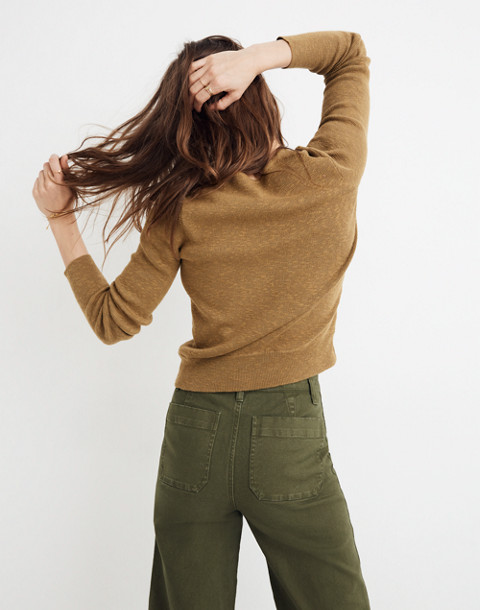 Wrap-Front Pullover Sweater in spiced olive image 3