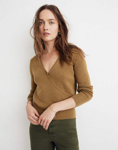 Wrap-Front Pullover Sweater in spiced olive image 1