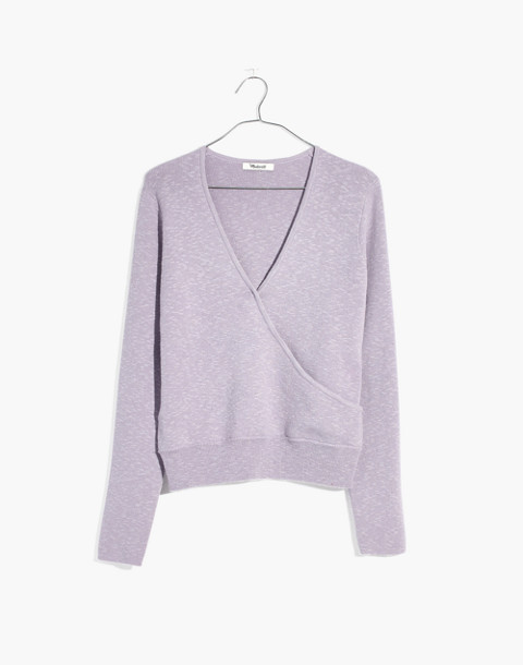 Wrap-Front Pullover Sweater in sundrenched lilac image 4