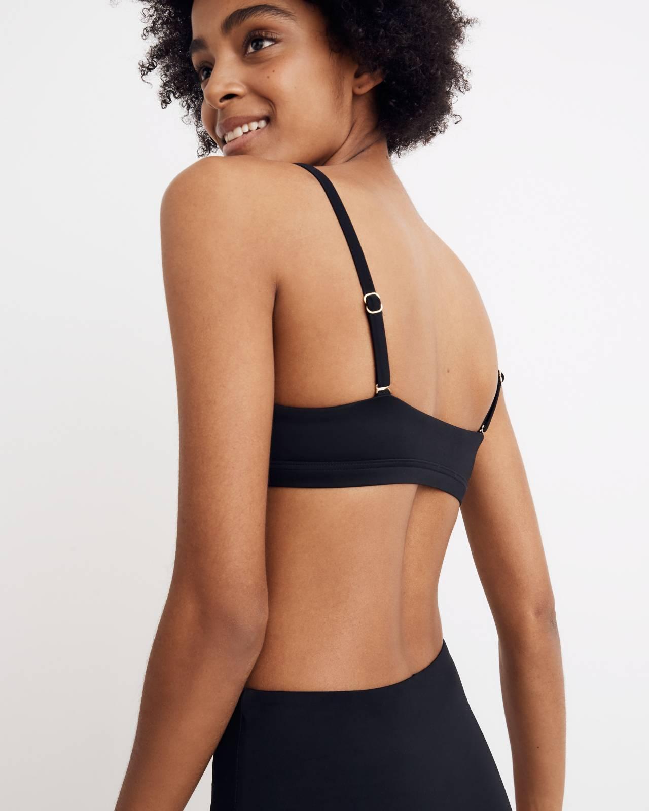 Madewell Second Wave Sport Bikini Top in true black image 3
