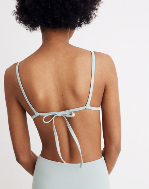 Madewell Second Wave Bralette Bikini Top in blue horizon image 3