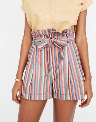 Paperbag Shorts In Rainbow Stripe by Madewell