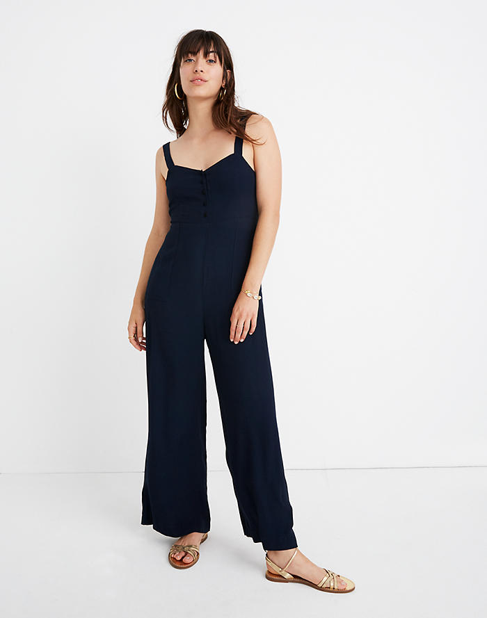 aa96ad14117 Button-Front Wide-Leg Jumpsuit
