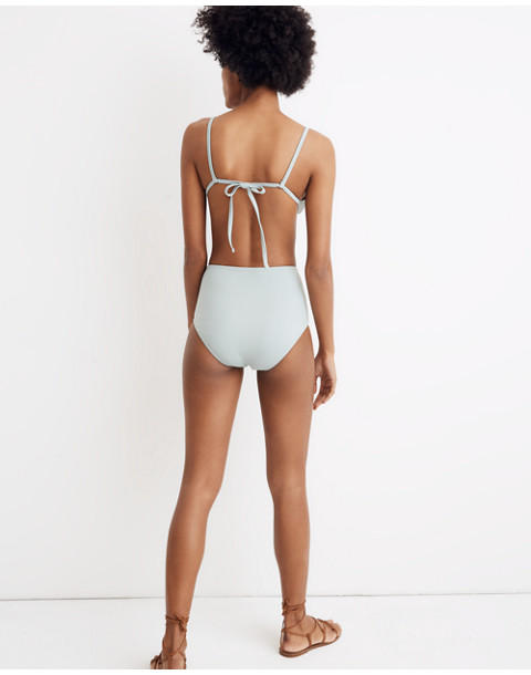 Madewell Second Wave Retro High-Waisted Bikini Bottom in blue horizon image 3