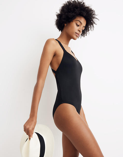 34e4581eaad50 Madewell Second Wave Crisscross One-Piece Swimsuit in true black image 1