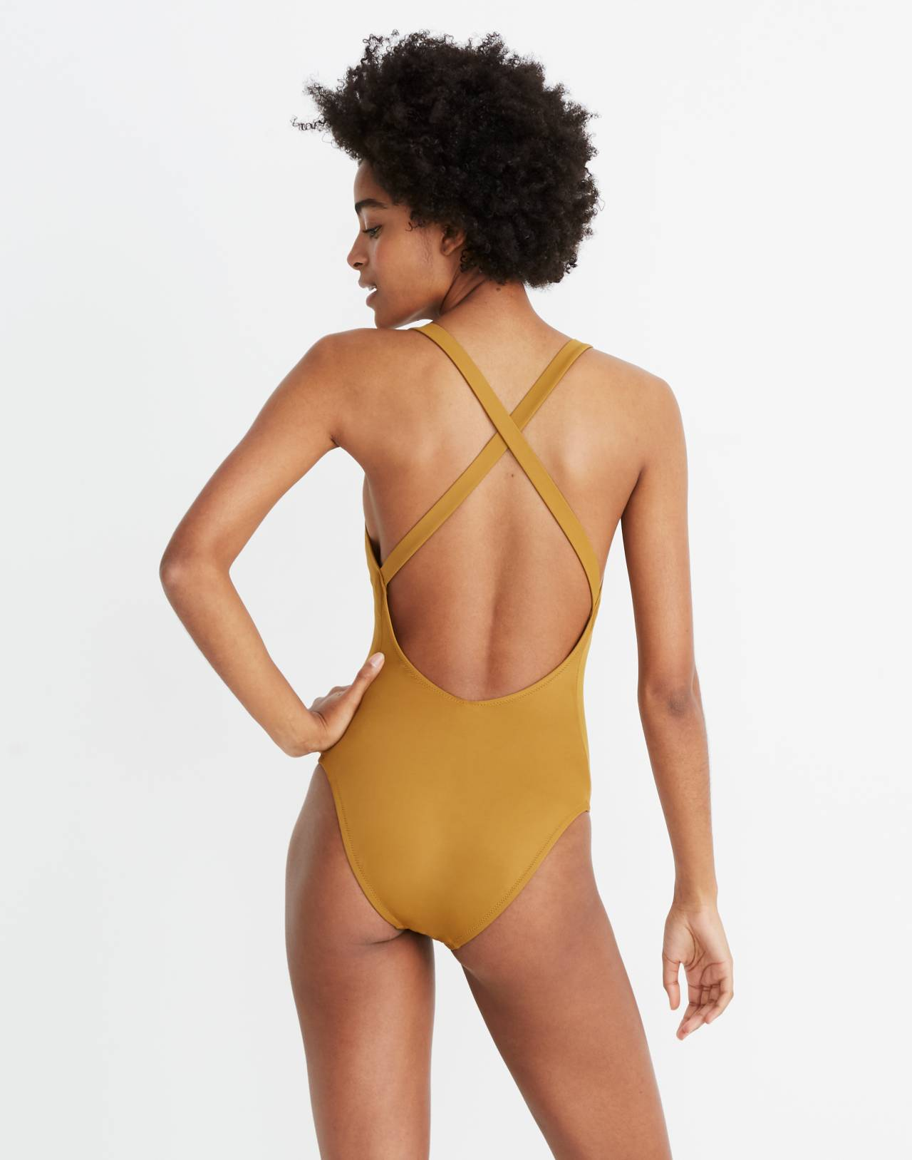Madewell Second Wave Crisscross One-Piece Swimsuit in distant olive image 2