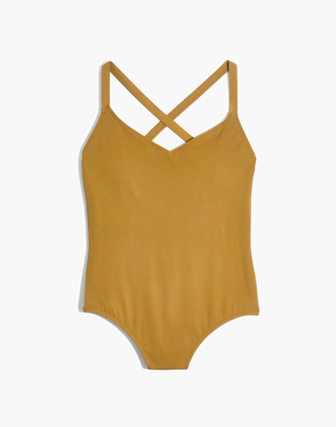 Madewell Second Wave Crisscross One-Piece Swimsuit in distant olive image 4