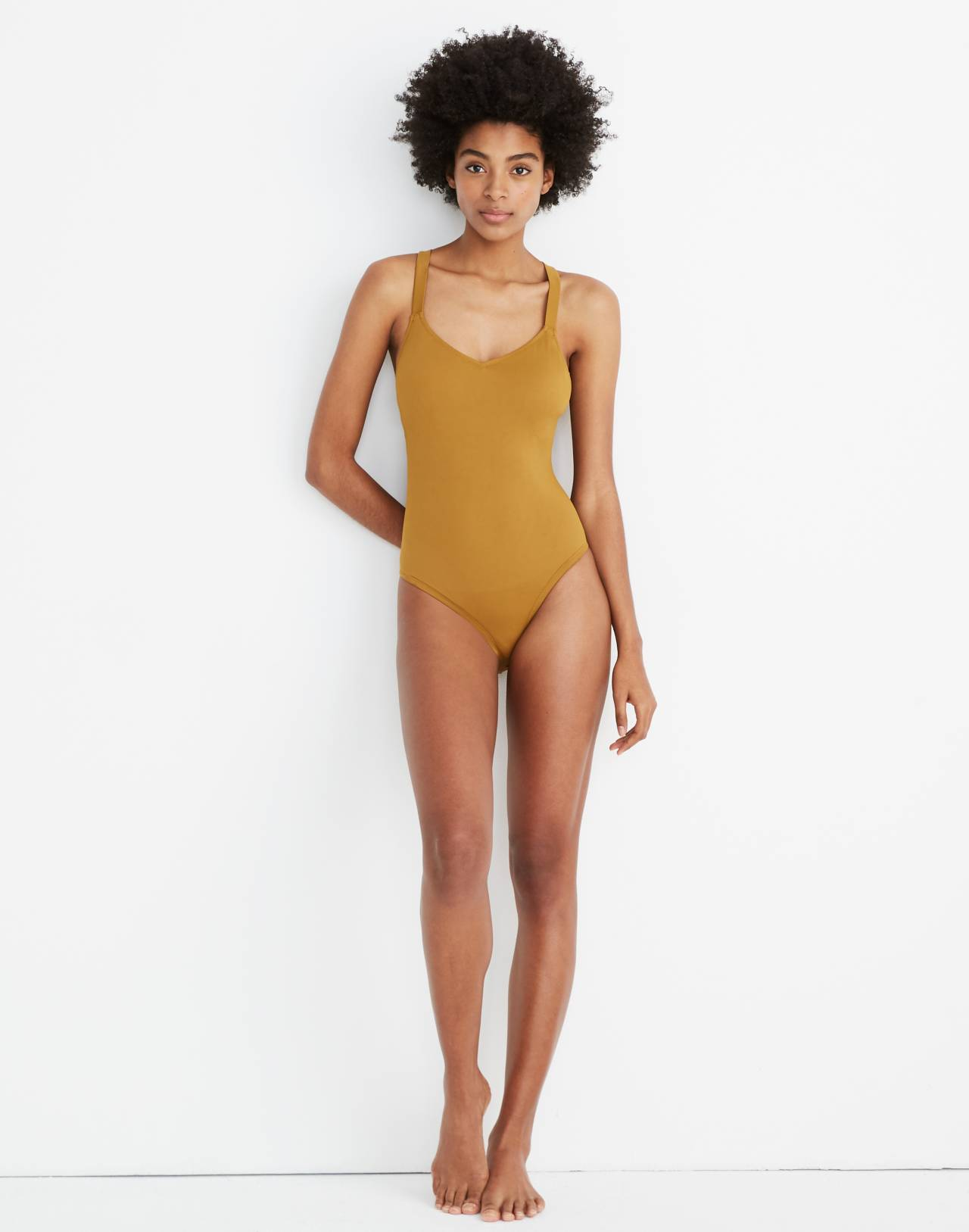 Madewell Second Wave Crisscross One-Piece Swimsuit in distant olive image 1