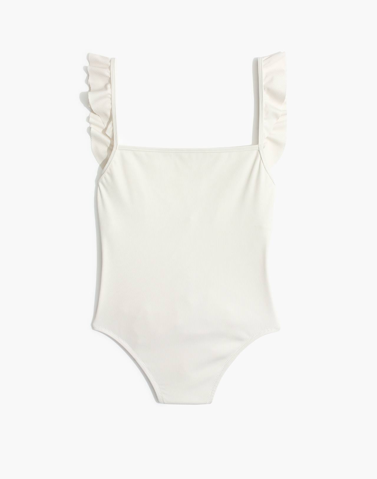 Madewell Second Wave Ribbed Ruffle-Strap One-Piece Swimsuit in pearl ivory image 4