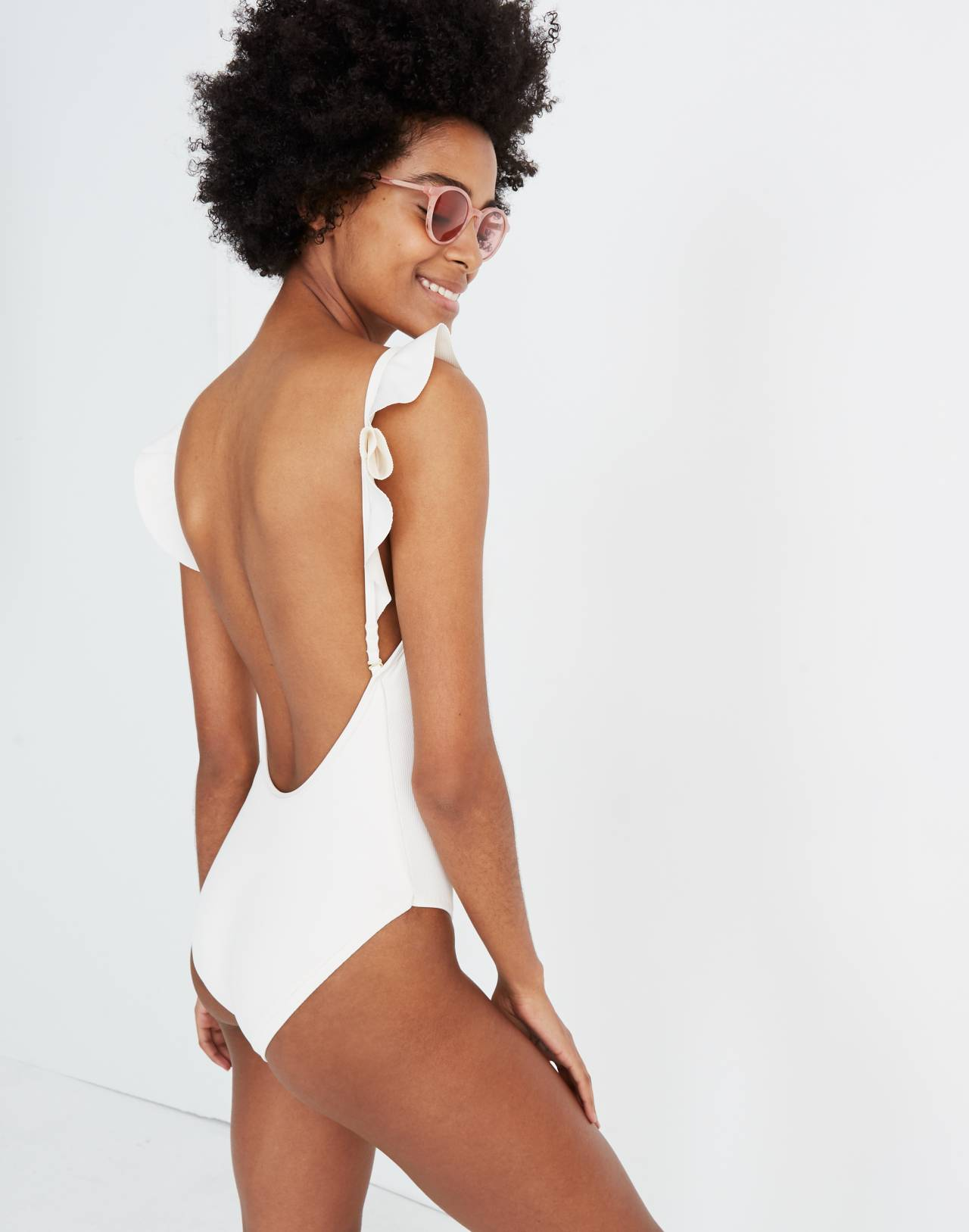Madewell Second Wave Ribbed Ruffle-Strap One-Piece Swimsuit in pearl ivory image 1