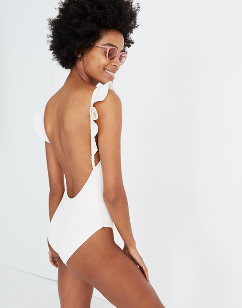 71abf83b56166 Madewell Second Wave Ribbed Ruffle-Strap One-Piece Swimsuit in pearl ivory  image 1