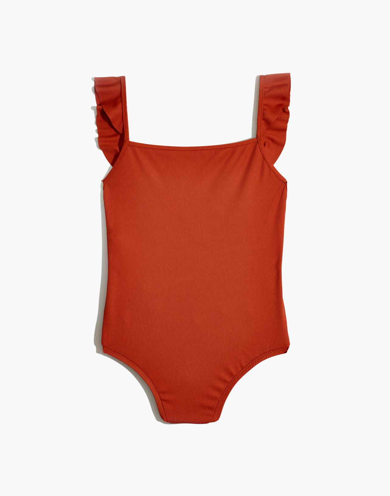 Madewell Second Wave Ribbed Ruffle-Strap One-Piece Swimsuit in afterglow red image 4