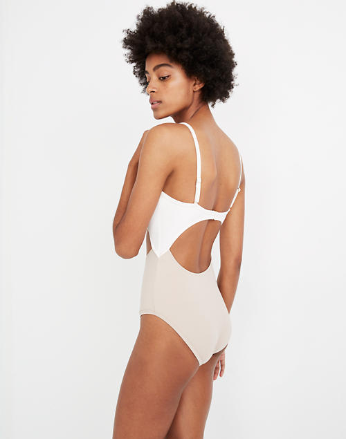 3d7b2a975b4d5 Madewell Second Wave Cutout One-Piece Swimsuit in Colorblock in ashen  silver image 2