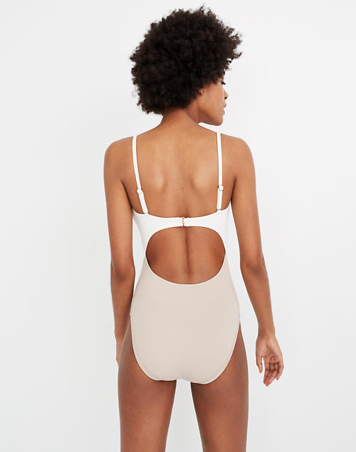 18d6153f42fd4 Madewell Second Wave Cutout One-Piece Swimsuit in Colorblock in ashen  silver image 3