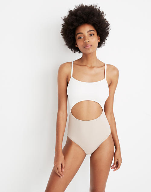 8d911fd1788cd Madewell Second Wave Cutout One-Piece Swimsuit in Colorblock in ashen  silver image 1