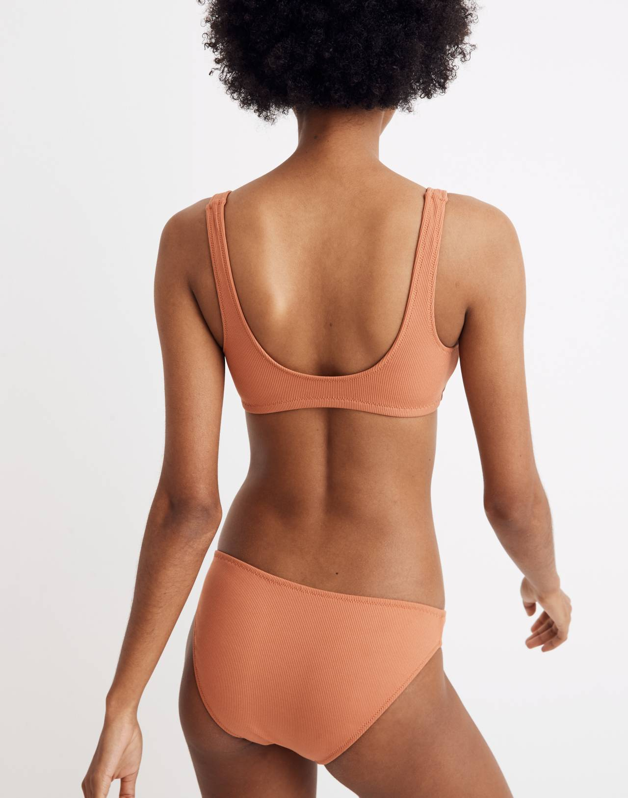 Madewell Second Wave Ribbed Henley Bikini Top in afterglow red image 3