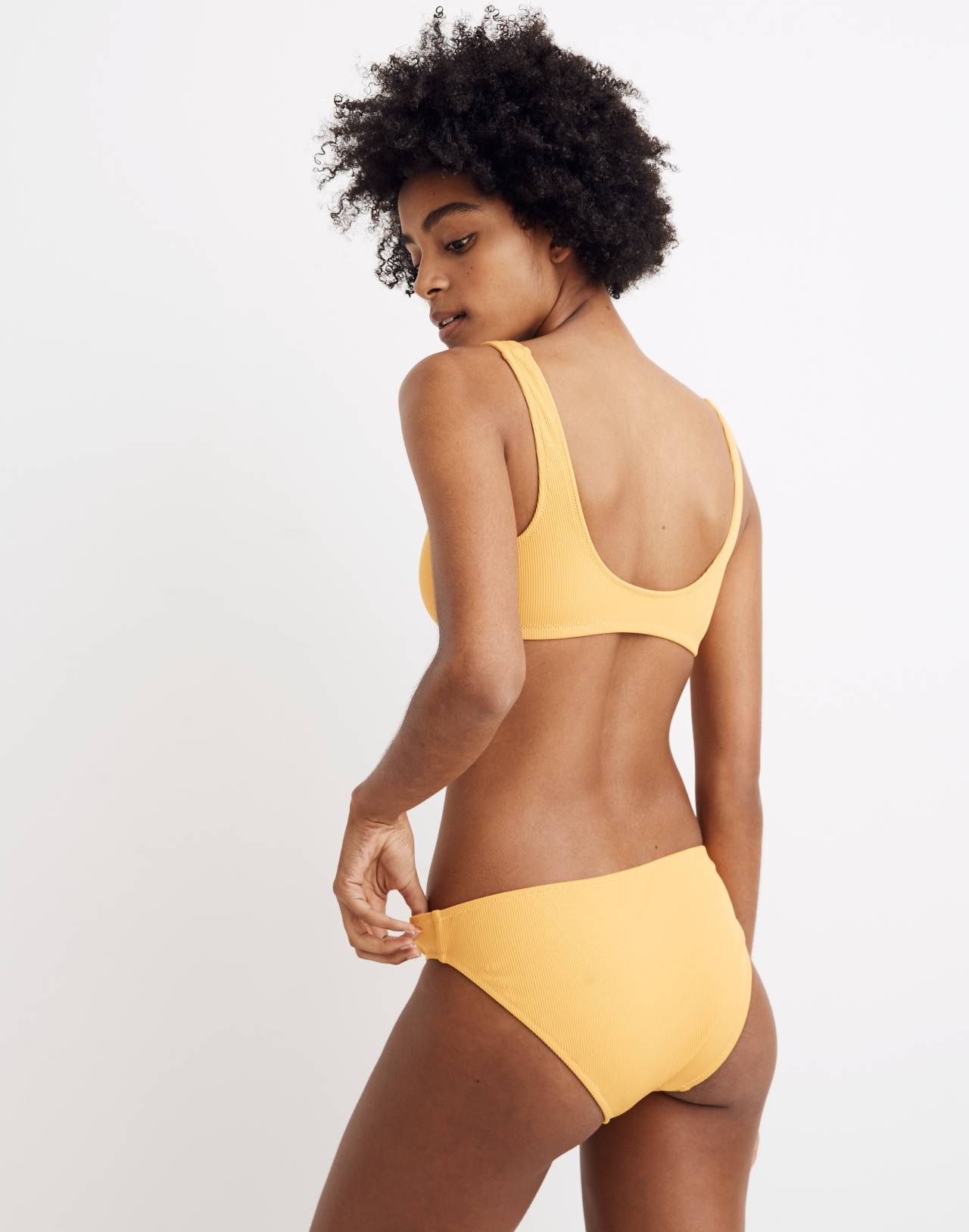Madewell Second Wave Ribbed Henley Bikini Top in tungsten glow image 2